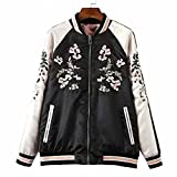 Viport Women's Floral Phoenix Embroidered Reversible Bomber Jacket Black Red (Large)