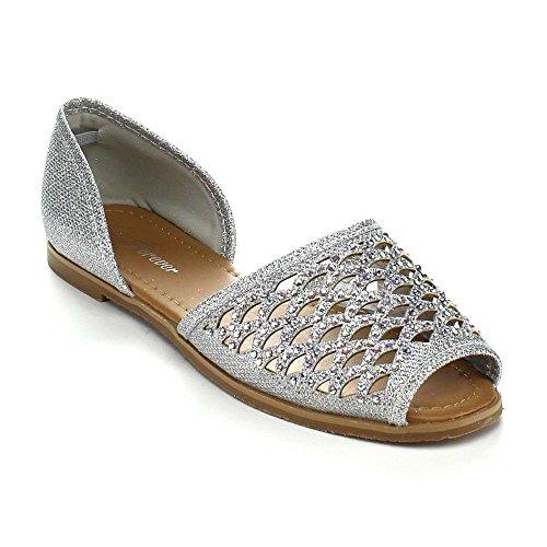 Color zapatos Plateado Multi comodidad Verano Mujeres Playa sandalias lona Flat Casual w1aHqg