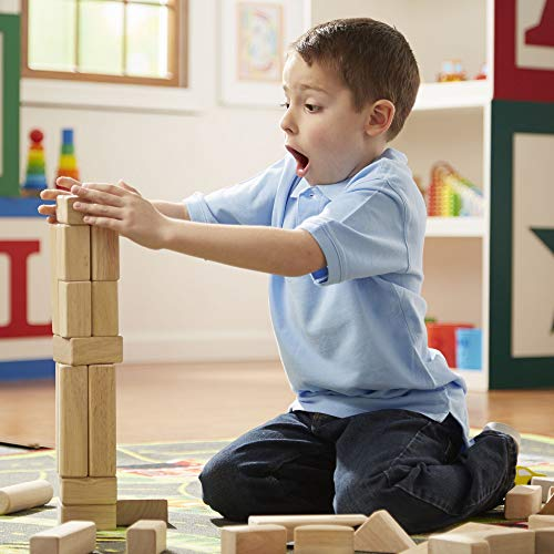 Melissa & Doug Standard Unit Solid-Wood Building Blocks with Wooden Storage Crate (Developmental Toy, 60 pieces, Great Gift for Girls and Boys - Best for 3, 4, 5, 6, 7, and 8 Year Olds)