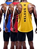 Neleus Men's 3 Pack Dry Fit Athletic Muscle Tank,5031,Blue,Red,Yellow,US 2XL,EU 3XL
