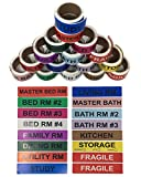 Shop4Mailers House Moving Color Coded Labels 1'' x 4.5'' Set of 16 Rolls ~ 50 Labels per Roll (3 Sets)