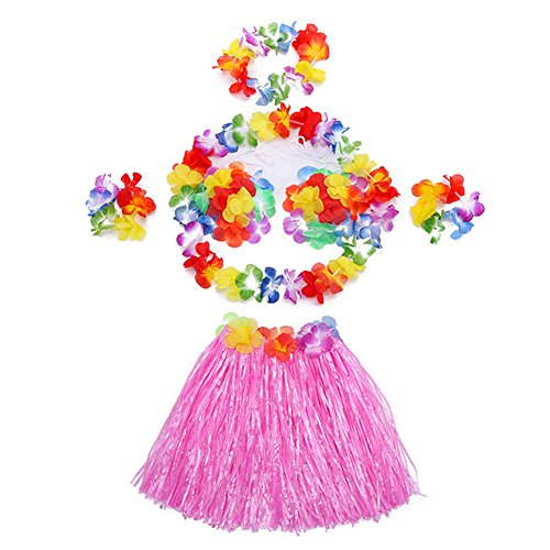Hawaii Dance Costume (Hawaii Dancing Mahalo Floral Costumes Child Lei & Grass Skirt Hula Set, 6-Piece, Pink, 12