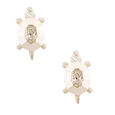 5995701ab 14K Gold Turtle Stud Kids Earrings With Safety Screw Backs (white-gold)