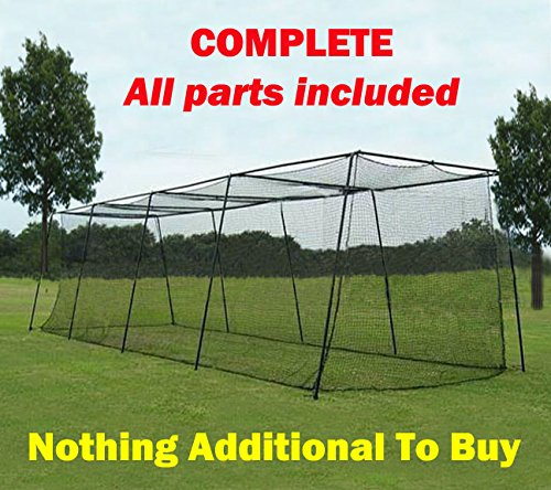 PRO QUALITY Baseball Batting Cages 5 Year Warranty 12'h x 14'w x 55' - Complete All Poles and #42 Netting Included - Largest, Most Durable Backyard Cages On The Market by Tournament Sports Equipment