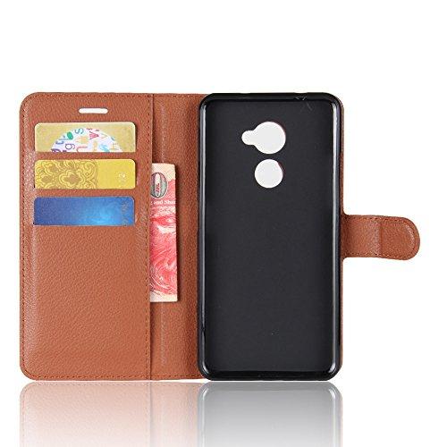 LORDWEY® para Vodafone Smart N8 Estuche Carcasas y fundas de billetera Cubierta cuero PU caso Flip con ranuras para tarjetas y la función de pie -marrón marrón