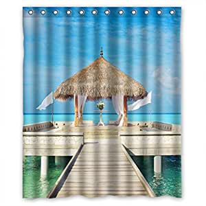 Home Fashion Healthy beach Shower curtains, Width * Height / 60*72 inch / 152*183 cm, polyester, best for bathroom