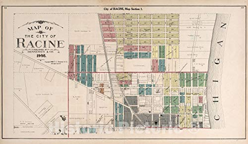 (Historic 1908 Map | Plat Book of Racine and Kenosha Counties, Wisconsin | Map of The City of Racine 76in x 44in)