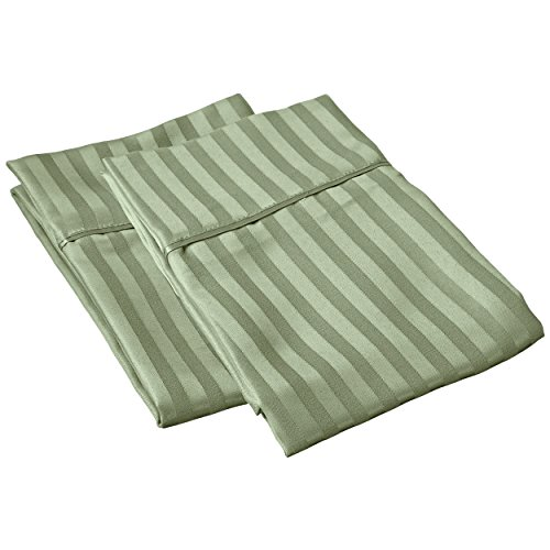 - SGI bedding 600 Thread Count 100% Egyptian Cotton Euro Sham 26x26 Sage Stripe Solid (Pack of 2)