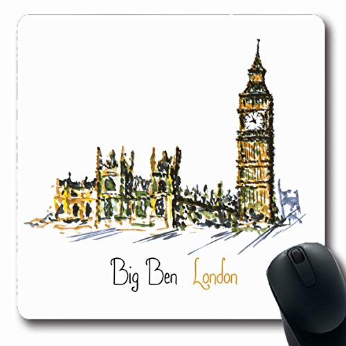 (Ahawoso Mousepad Oblong 7.9x9.8 Inches City Painting Watercolor Clock Tower Big Ben England Palace London Antique Aquarelle Architect Office Computer Laptop Notebook Mouse Pad,Non-Slip Rubber)