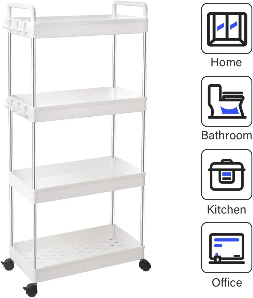 SOLEJAZZ 4-Tier Storage Cart Slide Out Rolling Utility Cart, Mobile Shelving Unit Organizer Rack with Handle for Kitchen Living Room Bathroom Laundry Room & Dressers, White