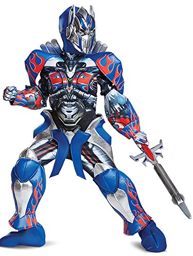 Transformer Costumes Optimus Prime (Disguise Optimus Prime Movie Prestige Costume, Blue, Medium)