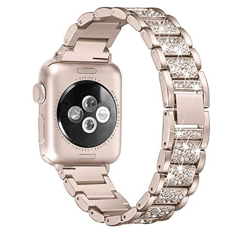 Secbolt Bling Bands Compatible Apple Watch Band 42mm 44mm Iwatch Series 4 3 2 1, Metal Rhinestone Bling Replacement Wristband, Champagne ()