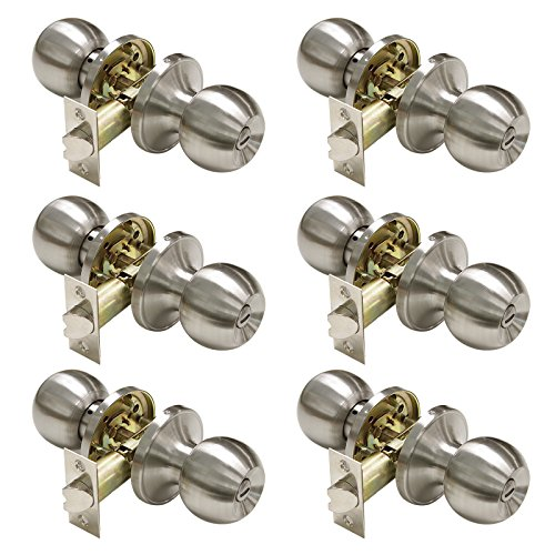 erior Door Knobs Bed and Bath Handle Levers Keyless Brushed Nickel Lockset 6 Pack (Silver Door Knob)