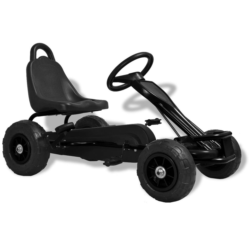 vidaXL Pedal Go-Kart with Pneumatic Tyres Black Kids Racing Push Play Vehicle