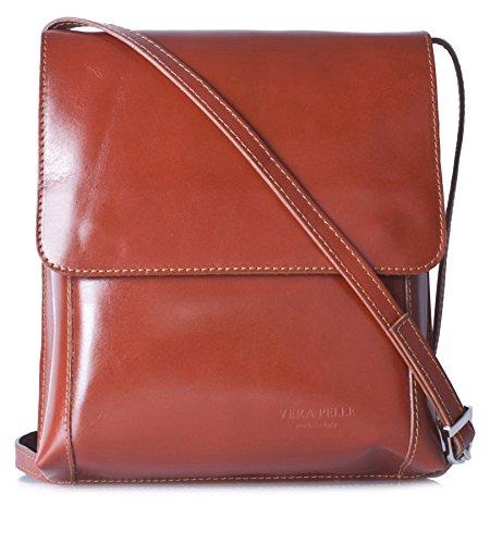 LiaTalia Cross Body Messenger Structured Leather Handmade Shoulder Womens Handbag - FLORA Tan - Plain