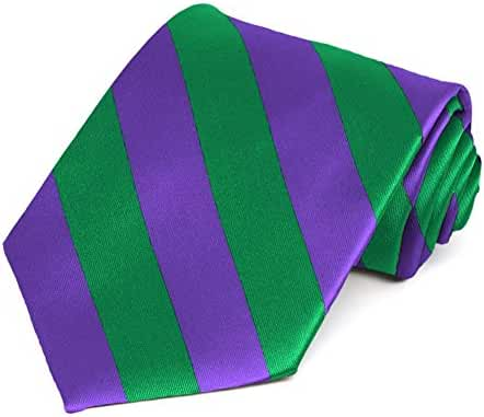 Kelly Green and Purple Striped Tie