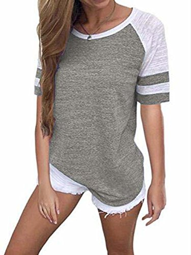 - Famulily Baseball Tees for Women Crew Neck Short Sleeve Tshirt Colorblock Striped Tops(#2 Grey,XX-Large)
