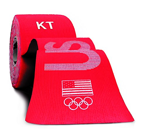 KT TAPE PRO Synthetic Elastic Kinesiology 20 Pre-Cut 10-Inch Strips, Therapeutic Tape, PRO USA Red