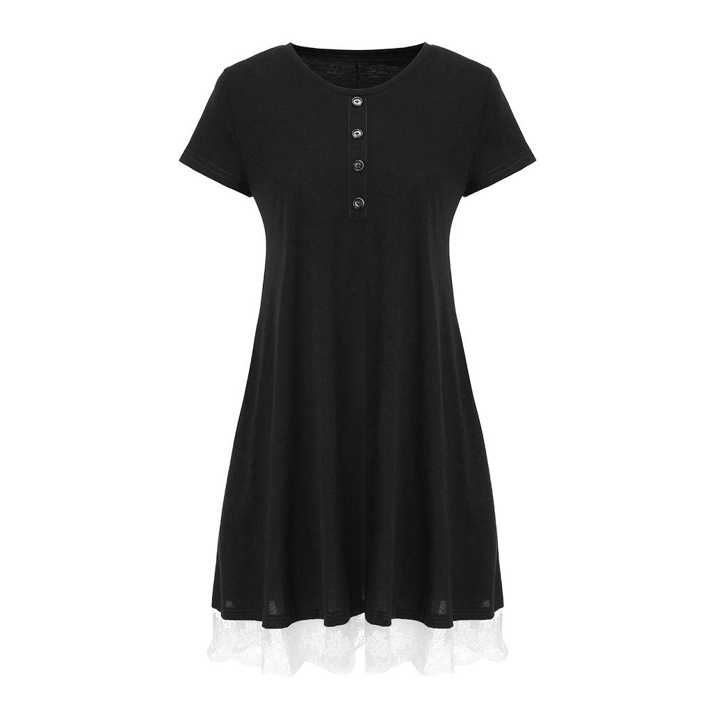 ❤Women's Short Sleeve Mini Dresses, Ladies Summer Casual Lace Button Swing Dress with Pockets