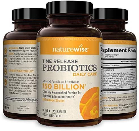NatureWise Daily Probiotics for Women and Men   Time-Release, Comparable to 150 Billion CFU   Delivers 15x More Live Cultures to Intestines for Digestion & Immune Support [2 Month Supply - 60 Caplets] 1