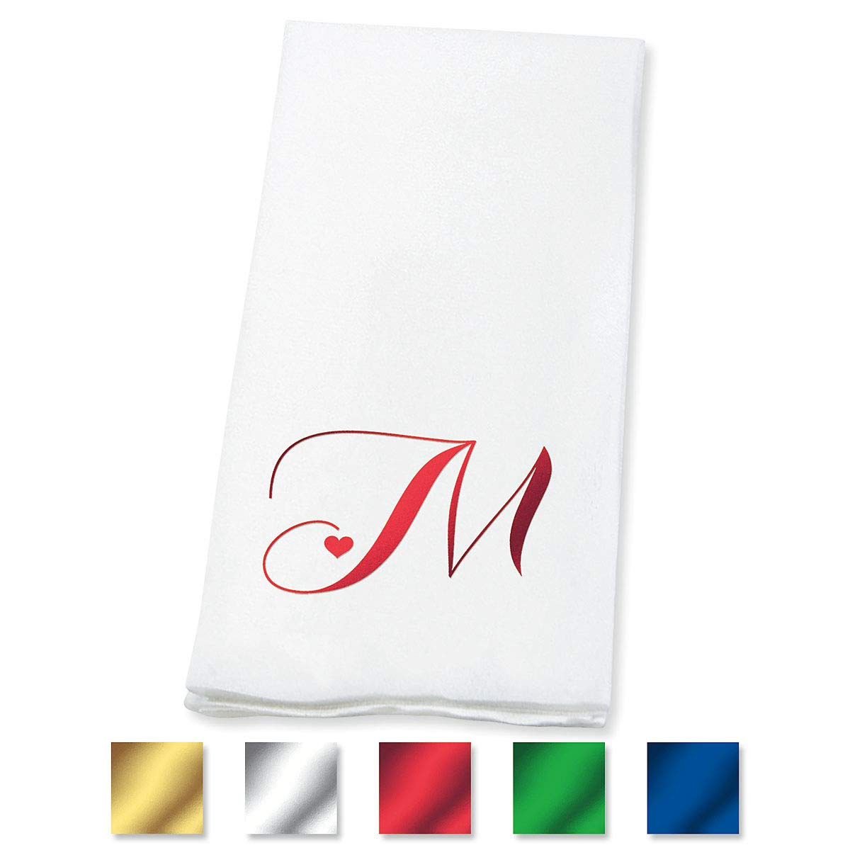 Lillian Vernon Heart Initial Guest Hand Towels (Count: 100 Pre-Folded Towels) Disposable 50% Cotton 50% Paper Blend, Monogram in Red, Blue, Gold, Green or Silver, Wedding Party, Anniversary Party