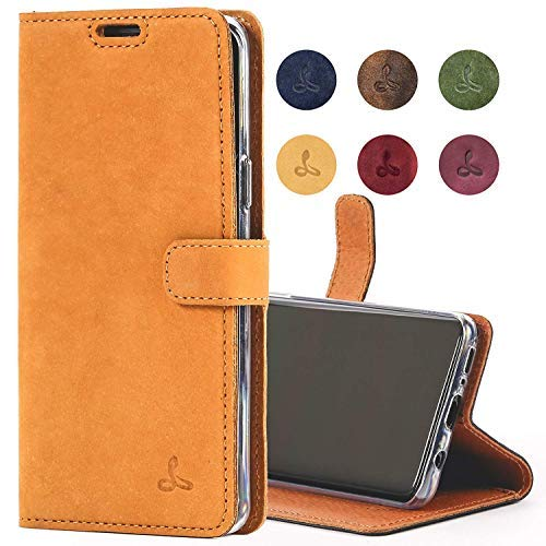 Snakehive Samsung Galaxy S9 Case, Genuine Leather Wallet with Viewing Stand and Card Slots, Flip Cover Gift Boxed and Handmade in Europe for Samsung Galaxy S9 - (Burnt Orange)