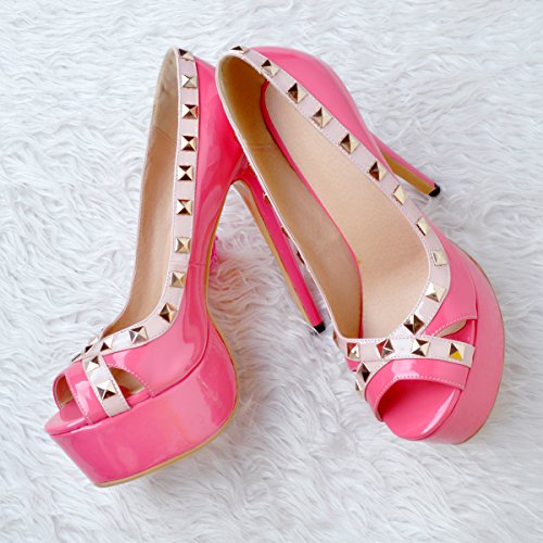 Handmade Heel Shoes Rivets Peep Kolnoo Toe Patent Pumps Pink Ladies High Party Office Spikes 5vxxFq