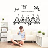 Black Leaves Branch lovely Owls Wall Decal Home Sticker Paper Removable Living Dinning Room Bedroom Kitchen Art Picture Murals DIY Stick Girls Boys kids Nursery Baby Playroom Decoration