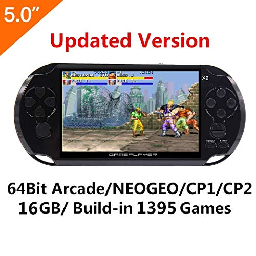 (5 Inch LCD Screen 8GB 32Bit Retro Handheld Game Console Built-in 1200+no-repeat Games with MP4 MP5 Function Support FC/NES,SFC/SNES/GB/GBC/GBA/SMC/SMD/SEGA Video Games)