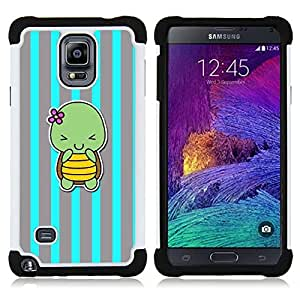 - blue turtle cute cartoon grey lines - - Doble capa caja de la armadura Defender FOR Samsung Galaxy Note 4 SM-N910 N910 RetroCandy