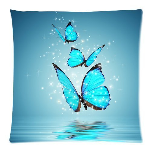 - Large beach pants Blue Butterfly Water Reflection Square Decorative Throw Pillow Case 1818inch Inch Custom Personalized Zippered Soft Cushion Case Cover for Sofa(Twin Sides)