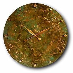 Oversized Copper Wall Clock 24-inch - Round Decorative Rustic Metal Original - Silent Non Ticking Quartz for Home