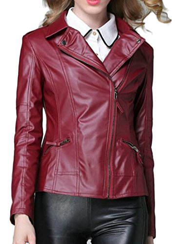 XiaoTianXin-women clothes XTX Womens Slim Short Lapel Collar Slant Zipper Faux PU Leather Jacket WineRed US L by XiaoTianXin-women clothes