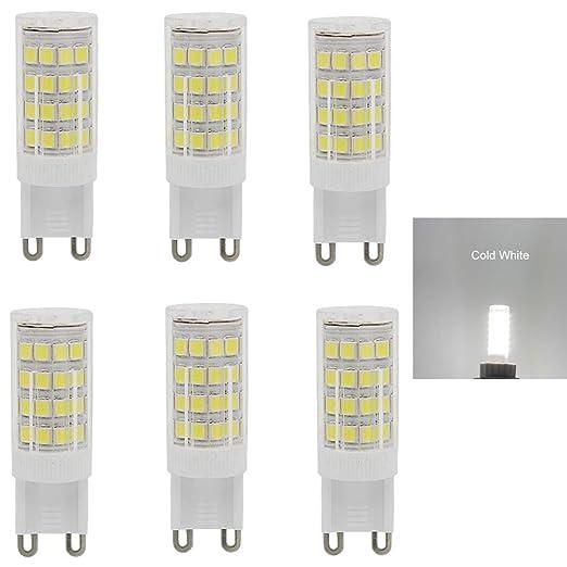 6 bombillas LED G9 de 5 W, 40 W equivalentes a 400 lm, AC220 - 240 V,