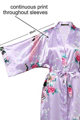 Púrpura Pijama Vestido Ropa Seda de Estampado Seda Satén Real dormir de Kimono de Pavo Kimono de ArtiDeco Claro Novia wTzxqx