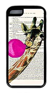 Soft Case Shell for iPhone 5C Covered with Giraffe Blowing Bubble,Customized Black TPU Cover Skin for iPhone 5C,Cute iPhone 5C Case