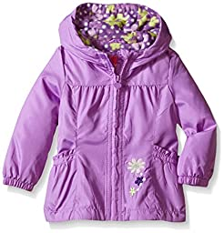 London Fog Baby Girls\' Floral Printed Fleece Lined Jacket, Purple, 24 Months