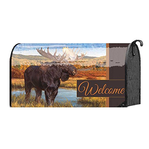 Standing Moose on the Hills Portrait 22 x 18 Standard Size Mailbox Cover - Portrait Standing