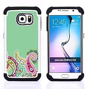 """Pulsar ( Indian Diseño floral verde rosada minimalista"""" ) Samsung Galaxy S6 / SM-G920 SM-G920 híbrida Heavy Duty Impact pesado deber de protección a los choques caso Carcasa de parachoques [Ne"""