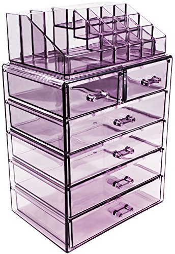Sorbus Acrylic Cosmetic Makeup and Jewelry Storage Case Display, Purple (Set Case Cosmetic)