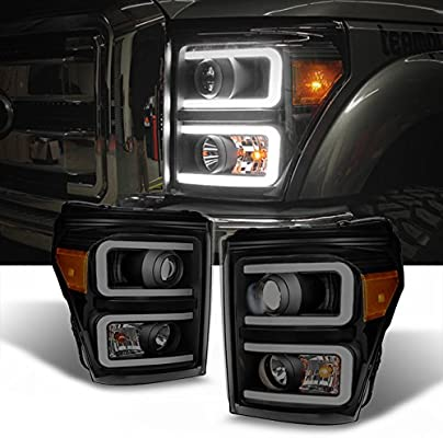 Super Duty Headlights >> For F Series Superduty Pickup Truck Black Smoked Dual Led Tube Projector Headlights Replacement