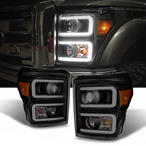 For F-Series SuperDuty Pickup Truck Black Smoked Dual LED Tube Projector Headlights ()