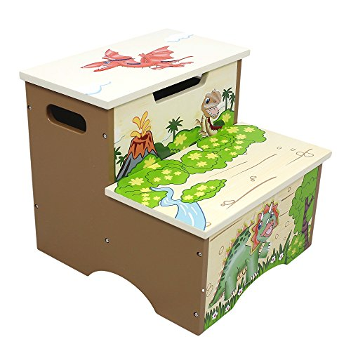 Fantasy Fields - Dinosaur Kingdom Thematic Kids Wooden Step Stool with Storage...