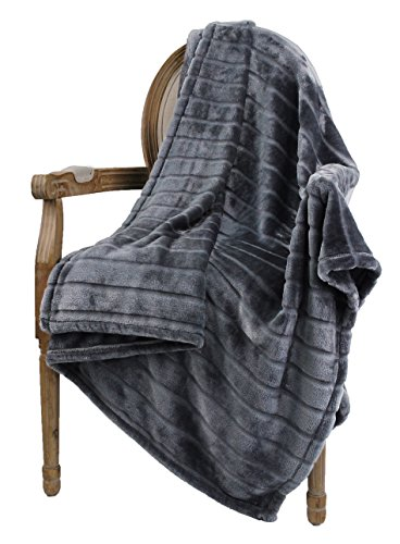 (Bertte Ultra Velvet Plush Super Soft Decorative Stripe Throw Blanket-60 x 80