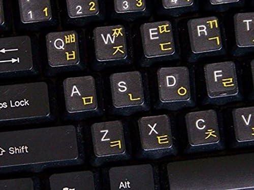 Qwerty Keys Pegatinas Teclado Coreano Transparente con Letras Amarillas - Apto para Cualquier Ordenador o portátil Teclado