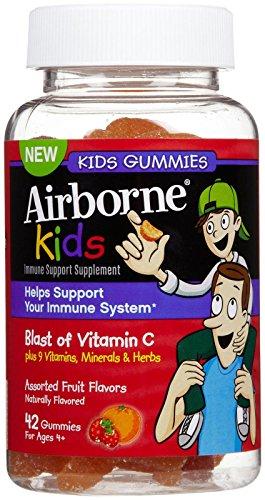 Airborne Kids Assorted Fruit Flavored Gummies, 42 count - Vitamin C plus Minerals & Herbs Immune Support