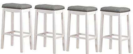Stupendous Angel Line Cambridge Bar Stools 29 Set Of 4 White With Gray Cushion Free Cleaning Fabric Cloth Squirreltailoven Fun Painted Chair Ideas Images Squirreltailovenorg