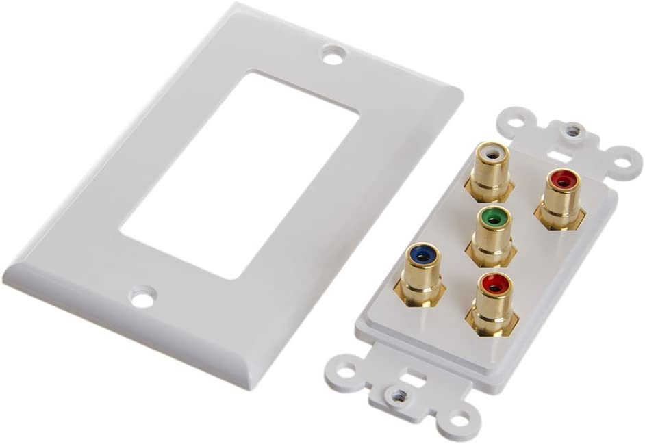 566-N CMPLE RCA Wall Plate-Component Video Audio 5-RCA Gold Connector,