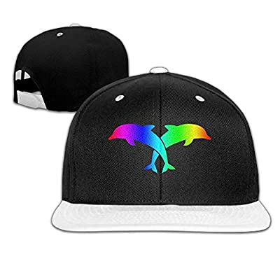 AJHGD Two Dolphins-6 Unisex Hip Hop Flat Brim Snapback Hats Plain Cotton Baseball Caps for Men
