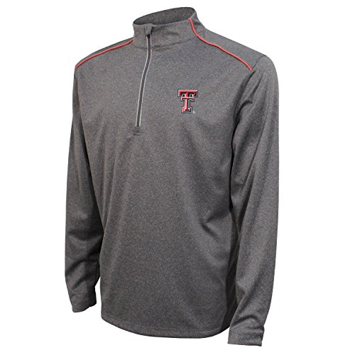 NCAA Texas Tech Red Raiders Men's Quarter Zip with Shoulder Piping Polo, Medium, Black/Red